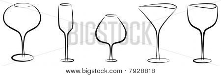 Abstact wine glasses