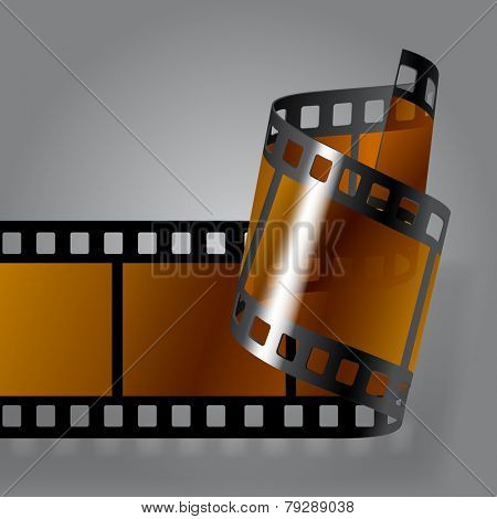 Curled photo film strip on gray background. Movies concept. Vector illustration