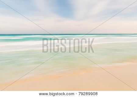 Abstract Sky, Ocean And Beach Nature Background With Blurred Panning Motion.