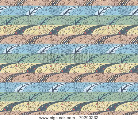 Seamless pattern with four seasons