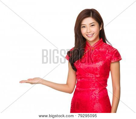 Chinese woman with hand presentation