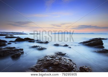 beautiful sun rise sky at sea coast photography by long explosure method use as natural background,b