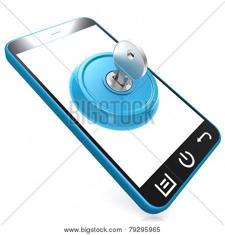 Blue Key On Smartphone