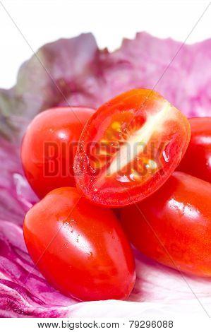 Cherry Tomatoes With Radicchio Leaf.