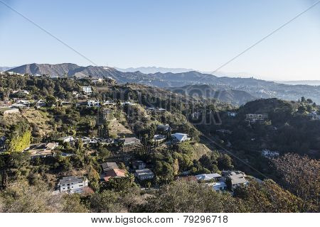 LOS ANGELES, CALIFORNIA, USA - January, 1, 2015:  New years morning below the Hollywood Sign in the Hollywood Hills area of Los Angeles.