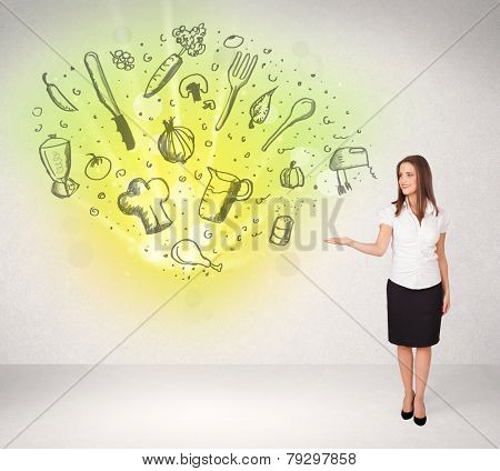 Young girl presenting nutritional cloud with vegetables concept