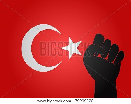 Turkish Flag With Protest Sign