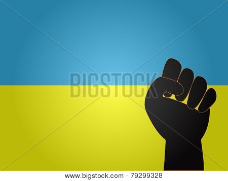 Ukrainian Flag With Protest Sign