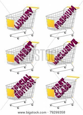 Yellow 3D Shopping Cart With Luxury Articles Texts