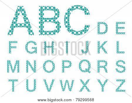 Green Stencil Vector Font Set