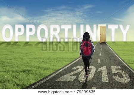 College Student Walking Toward Opportunity Door