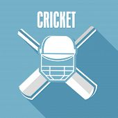 picture of cricket  - Cricket bat with batsman helmet and Cricket text on blue background - JPG