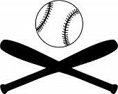 picture of baseball bat  - Vector illustration of baseball bats and a baseball - JPG