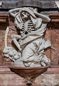 stock photo of wraith  - Statue of skeleton death in St Emmeram Abbey or Basilica in Regensburg Bavaria Germany - JPG