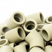 picture of thermoplastics  - A lot of combined fittings for plastic pipes on a white background - JPG