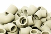 foto of thermoplastics  - A lot of combined fittings for plastic pipes - JPG