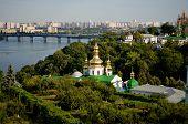 picture of kiev  - View from the hill on Kiev-Pechersk Lavra Pechersk district, Kiev, Ukraine ** Note: Soft Focus at 100%, best at smaller sizes - JPG