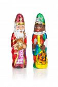 stock photo of saint-nicolas  - Closeup of Sinterklaas and Black Pete - JPG