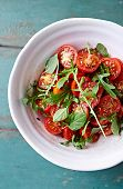 picture of flax seed oil  - Cherry tomato and arugula salad with flax seeds - JPG