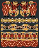 Постер, плакат: seamless ethnic animal paisley stripe pattern