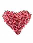 foto of kidney beans  - Red kidney beans heart shape isolated on whte background - JPG