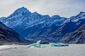 stock photo of hooker  - Hooker glacier lake in Aoraki National Park New Zealand - JPG