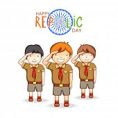 stock photo of ashoka  - Cute little boys in scout uniform saluting on occasion of Indian Republic Day with Ashoka Wheel on white background - JPG
