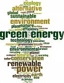 pic of hydro-electric  - Green energy word cloud concept isolated on white - JPG
