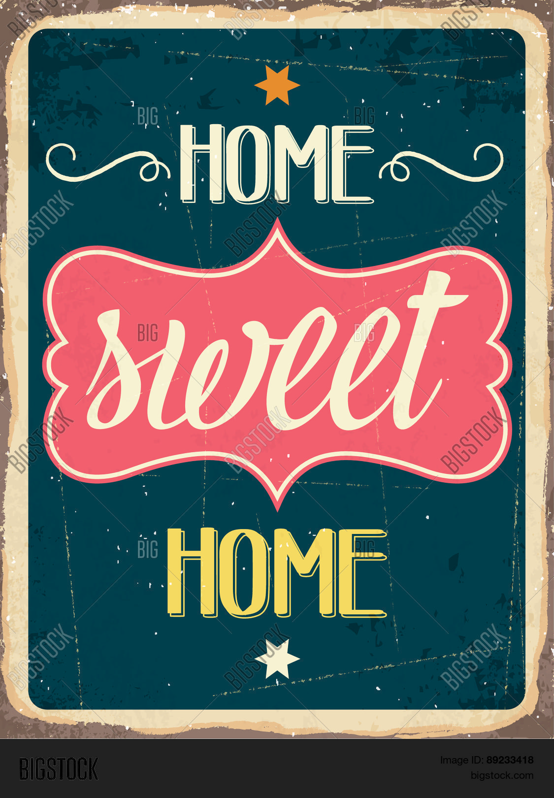 Retro metal sign home sweet home stock vector stock for Sweet home 3d italiano