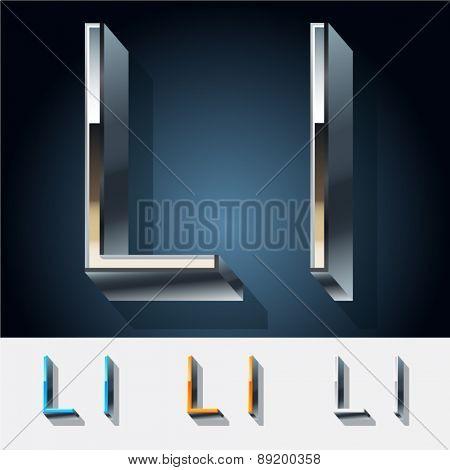 Vector set of futuristic metal silver alphabet. Letter L