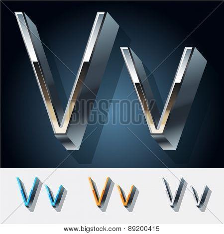 Vector set of futuristic metal silver alphabet. Letter V