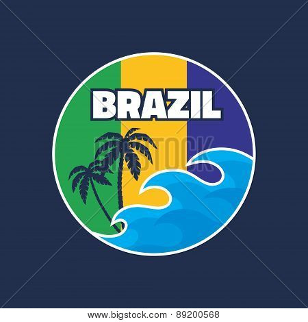 Brazil - vector illustration concept badge in vintage graphic style
