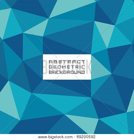 Abstract geometric background pattern in blue colors with white frame for text.