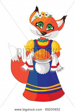 Cute fox in a dress with pastries hand.