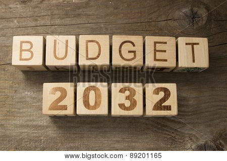 Budget for 2032 wooden, blocks on a wooden background