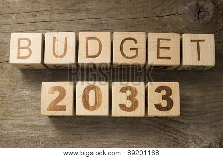 Budget for 2033 wooden, blocks on a wooden background