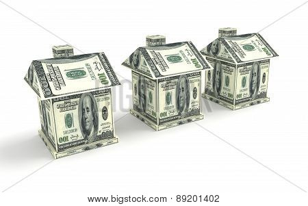 Three Houses From The Money Isolated On White. Construction Concept