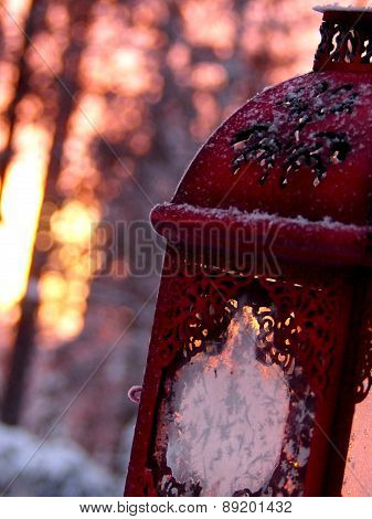 Ice on a red lantern