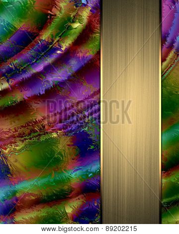 Abstract Colorful Background With Gold Ribbon With Nameplate