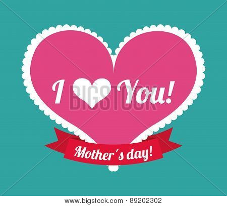 Happy mothers day card over blue background vector illustration