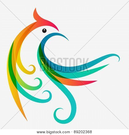 Abstract Multicolor Tropical Bird, Logo Design Template. Vector Colorful Background