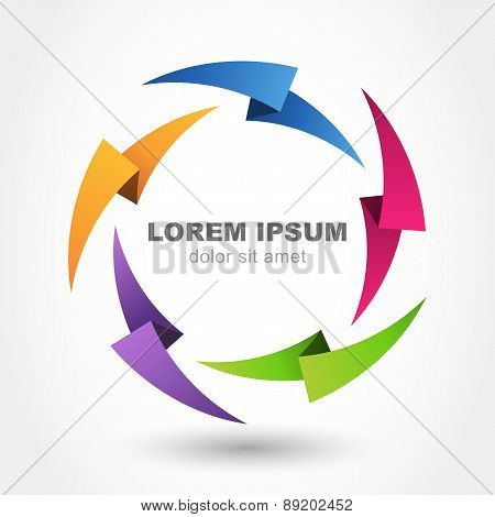 Vector Logo Design Template. Multicolor Lightning Background. Abstract Infinity Loop Symbol. Concept