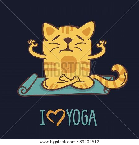 Red Cartoon Cat On Blue Mat In Yoga Position. Vector Illustration Isolated On Black Background