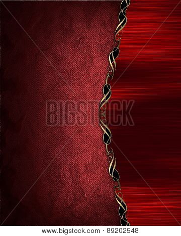 Element For Design. Template For Design. Red Texture With Golden Patterns