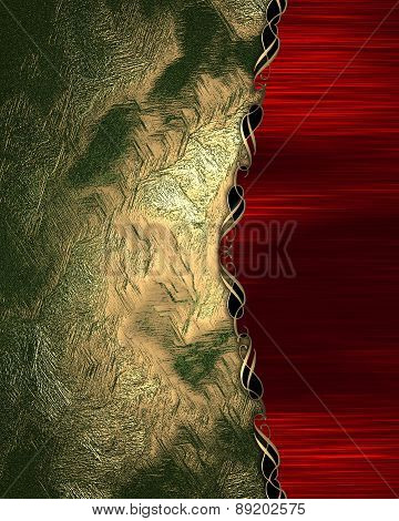 Element For Design. Template For Design. Green Gold Background With Red Edge