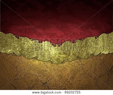 Element For Design. Template For Design. Red And Golden Texture With Gold Ribbon