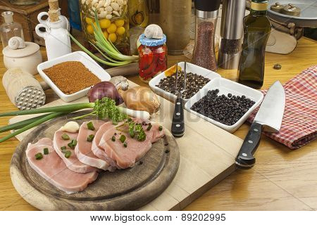 Home food preparation in the kitchen, roast pork on grill