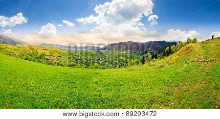 Village On Hillside Meadow