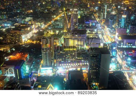 Beautifully Lit Cityscape In Asia At Night