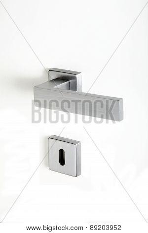 Aluminum Handle With Lock On White Background